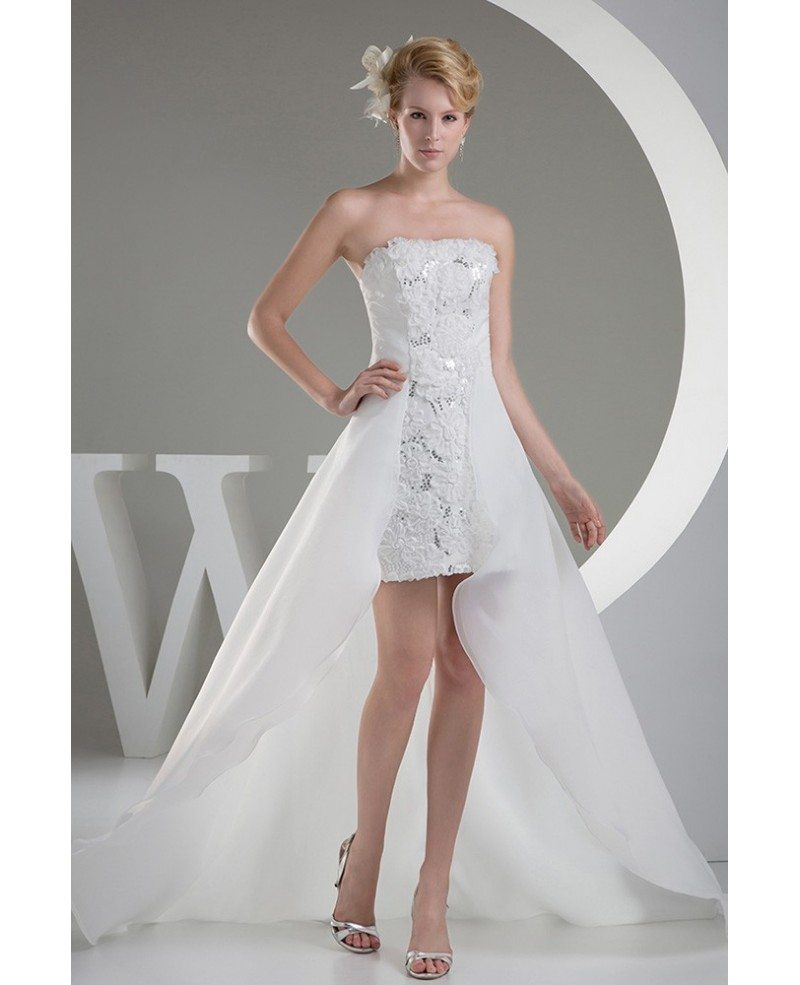 sleeveless wedding dresses high low wedding dresses with chic strapless 7546
