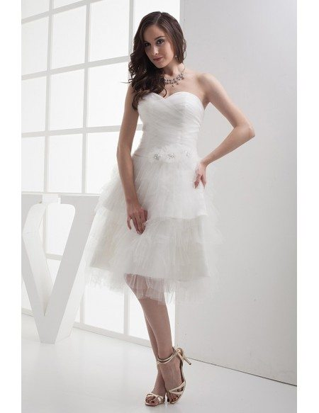 GRACE LOVE Short Puffy White Sweetheart Knee Length Wedding Dress