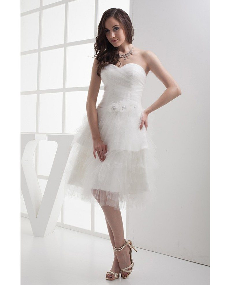 Reception Cheap Short Wedding Dresses Layered Puffy White Sweetheart ...