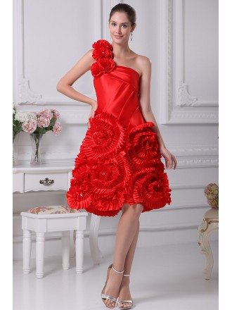 Beautiful Hot Red One Shoulder Scalloped Flowers Wedding Dress in Knee Length
