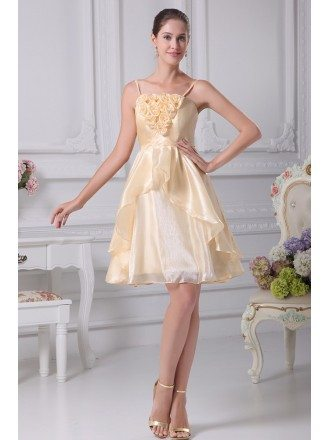 Cute Champagne Floral Short Bridal Party Dress with Spaghetti Straps