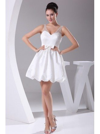 Simple Sweetheart Short White Taffeta Wedding Dress with Beading Straps