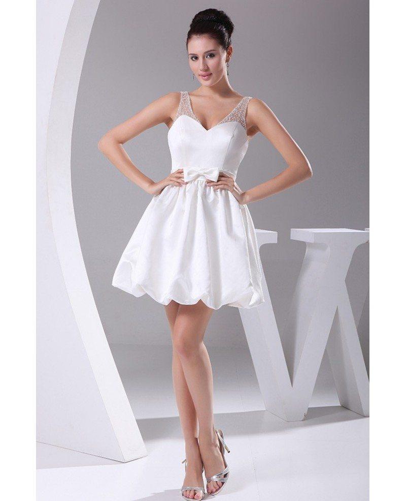 Simple short wedding dresses sweetheart backless white for White wedding dress short