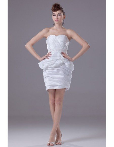 Chic Short Wedding Dresses Reception Little Plain White Taffeta ...
