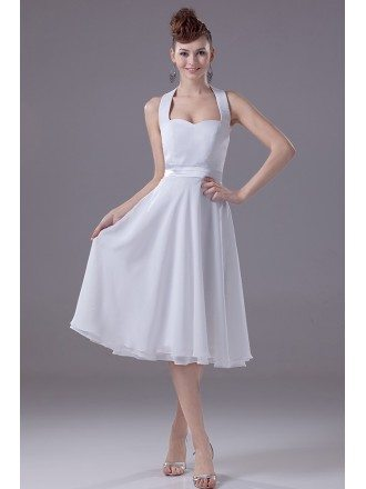 Simple Halter Neck Short White Bridal Dress in Satin and Chiffon