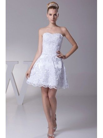 Beach Short Cocktail Lace Beading Wedding Dress with Corset Back