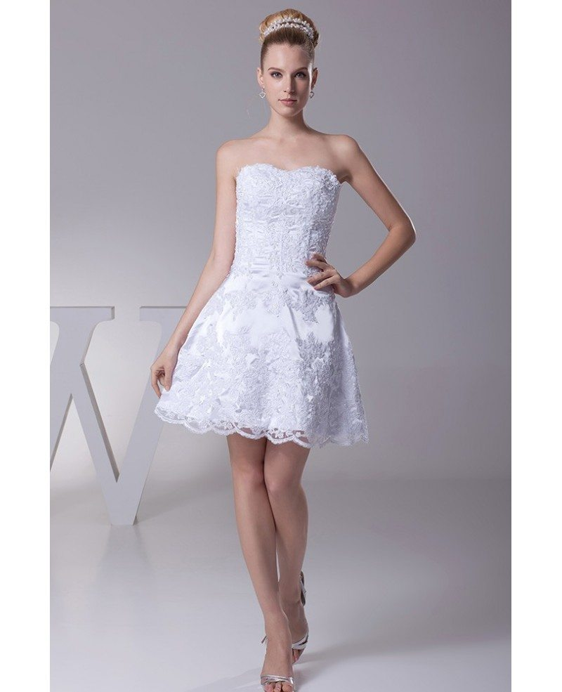 Strapless Short Wedding Dresses Lace Beach Style With