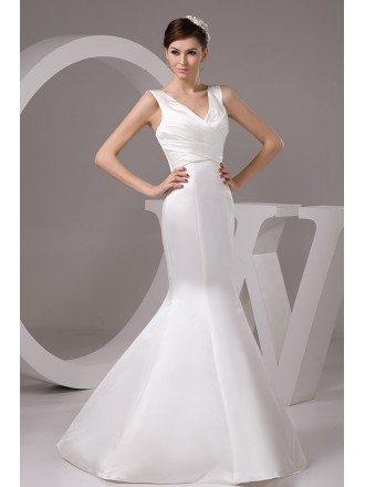 Mermaid V-neck Floor-length Satin Wedding Dress