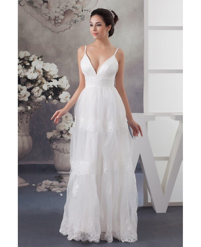 A Line V Neck Floor Length Tulle Wedding Dress With