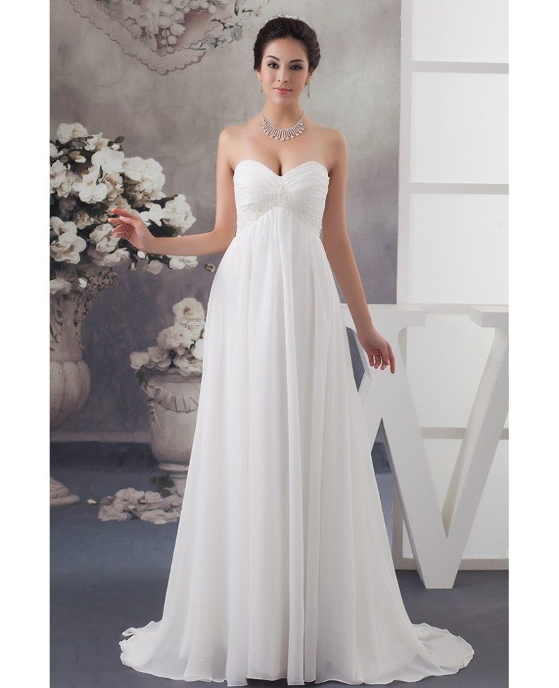 A-line Sweetheart Sweep Train Chiffon Wedding Dress With Beading ...