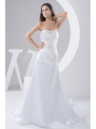 Mermaid Strapless Court Train Satin Wedding Dress With Beading