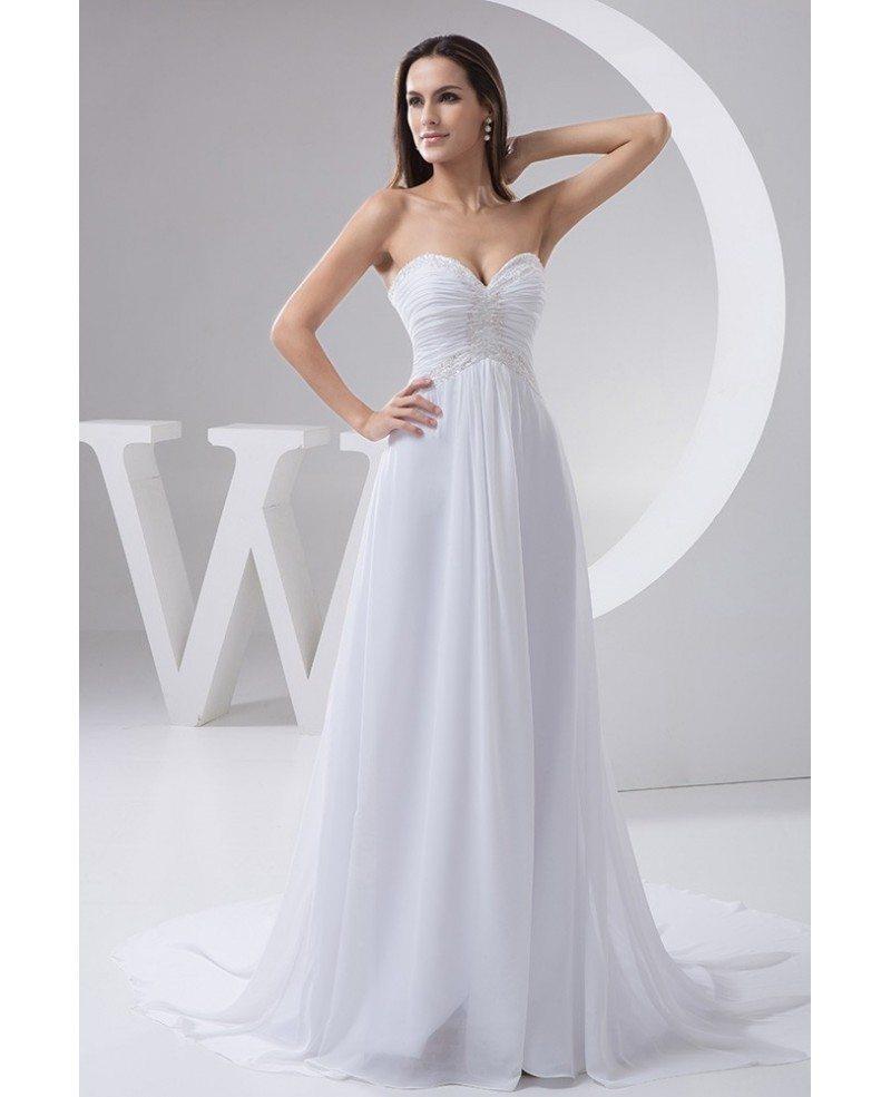 A line sweetheart court train chiffon wedding dress with for A line chiffon wedding dresses