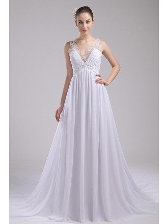 Beaded V-neck Long Empire Waist Aline Wedding Dress