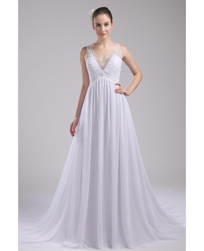 Beaded V-neck Long Empire Waist Aline Wedding Dress #OP4098 $164.3 ...