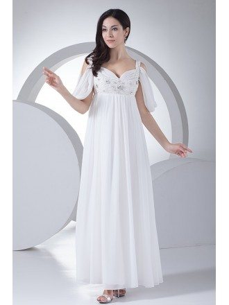 Ankle Length Empire Waist Maternity Wedding Dress with Straps