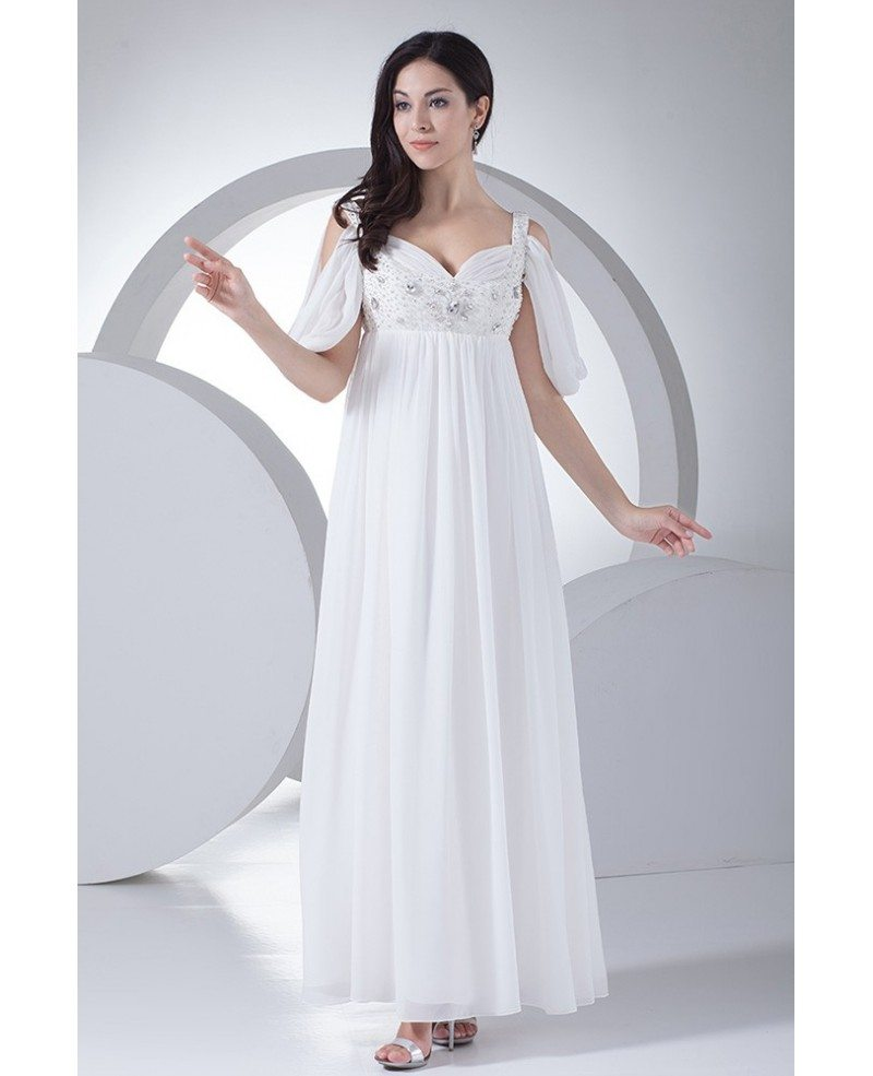 Ankle length empire waist maternity wedding dress with straps ombrellifo Gallery