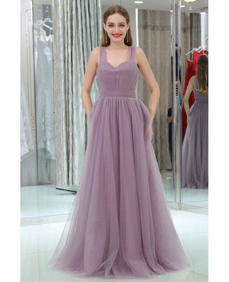 fairy tulle long sweetheart lavender prom party dress for