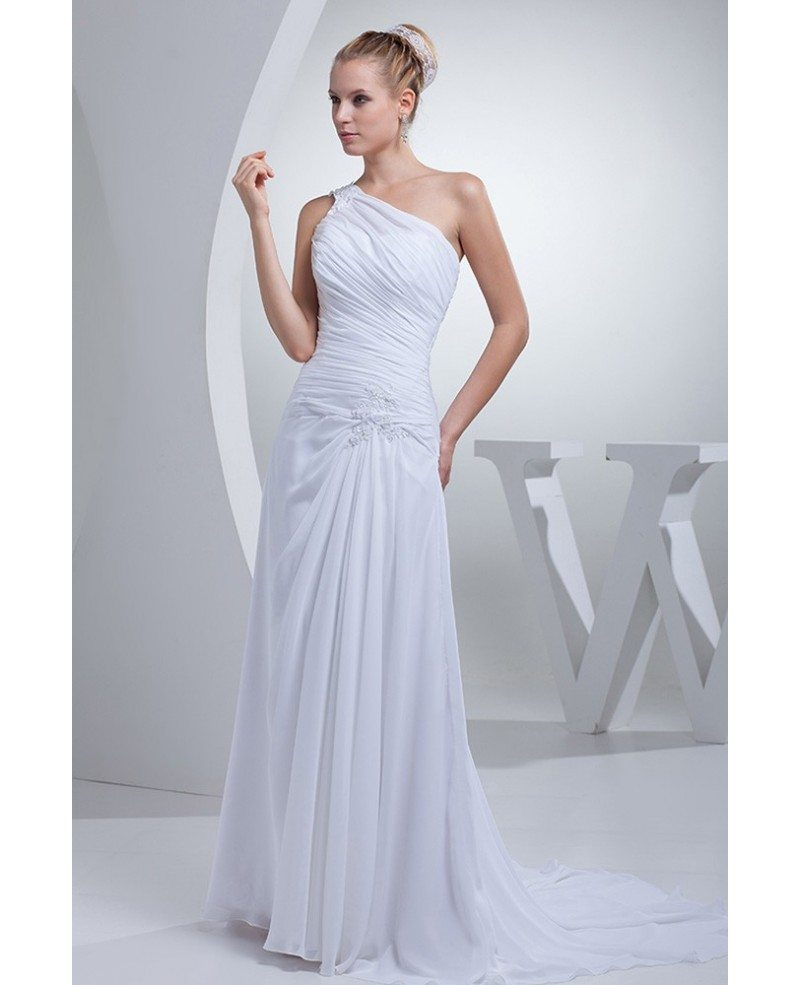 The Best Grecian Style Wedding Dresses: One Shoulder Greek Style Pleated Long Wedding Dress