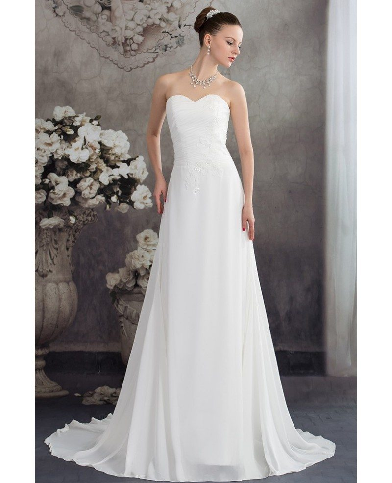 Simple aline chiffon sweetheart beach wedding dress for Beach chiffon wedding dress
