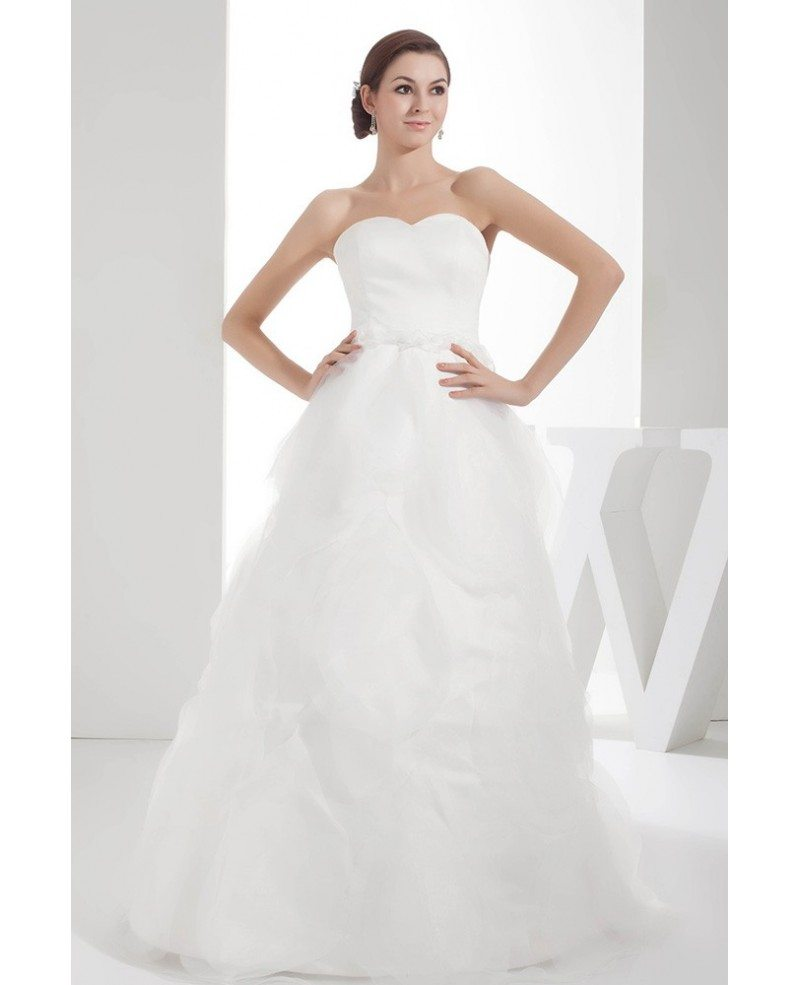 Simple White Sweetheart Organza Wedding Dress #OPH1381 $215 ...