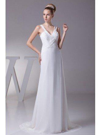 Long Slim Pleated Crossing Beading Wedding Dress with Sweetheart Neckline