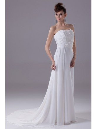 Elegant Long Slim Beach Strapless Wedding Dress with Handmade Flowers