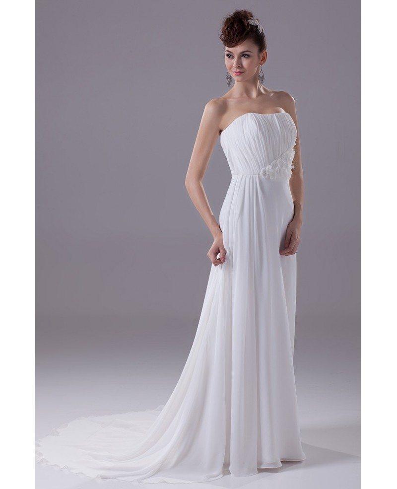 Elegant Long Slim Beach Strapless Wedding Dress With