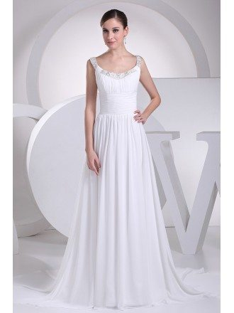 Flowing Chiffon Train White Folded Bridal Dress with Beading Neck
