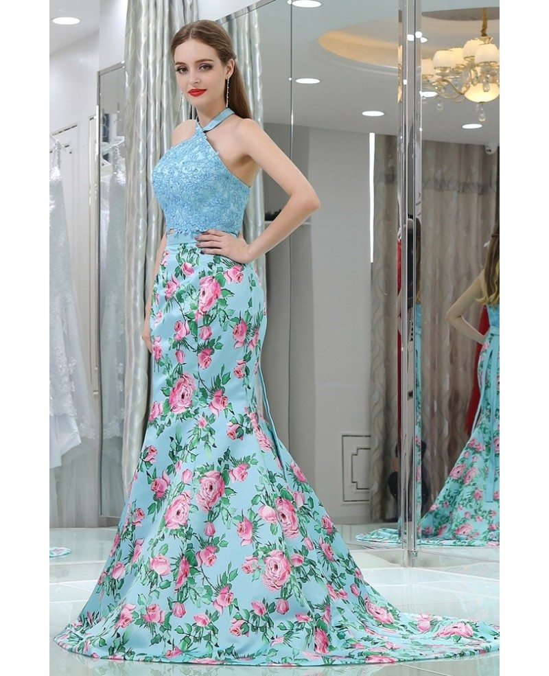Gorgeous Two Pieces Blue Lace Mermaid Prom Dress With Floral Print ...