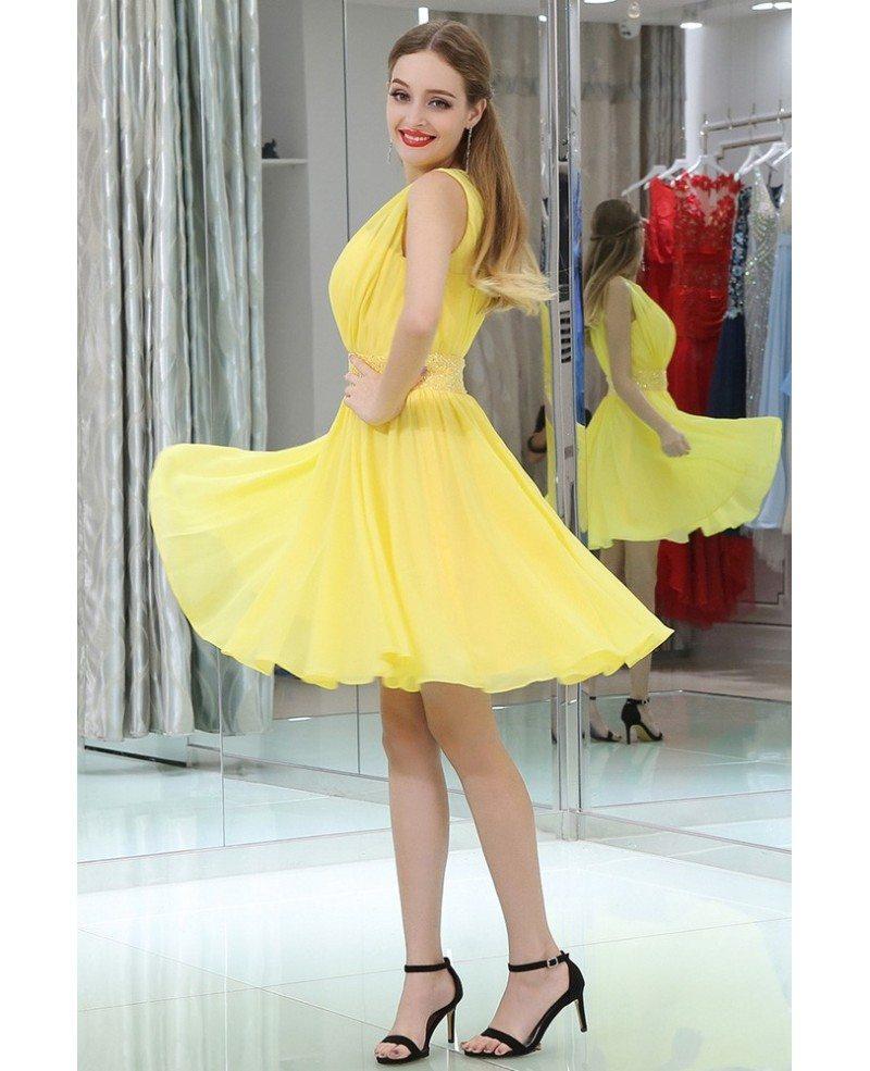 Simple High Neck Short Yellow Chiffon Prom Dress With Beading Waist ...