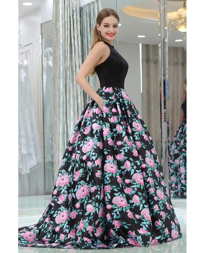 Unique Long Satin Black Printed Floral Prom Gowns With Halter Neck ...
