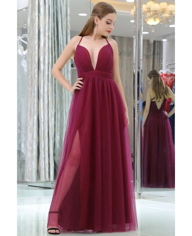 Burgundy Deep V Pleated Tulle Evening Dress With Split Front #B015 ...