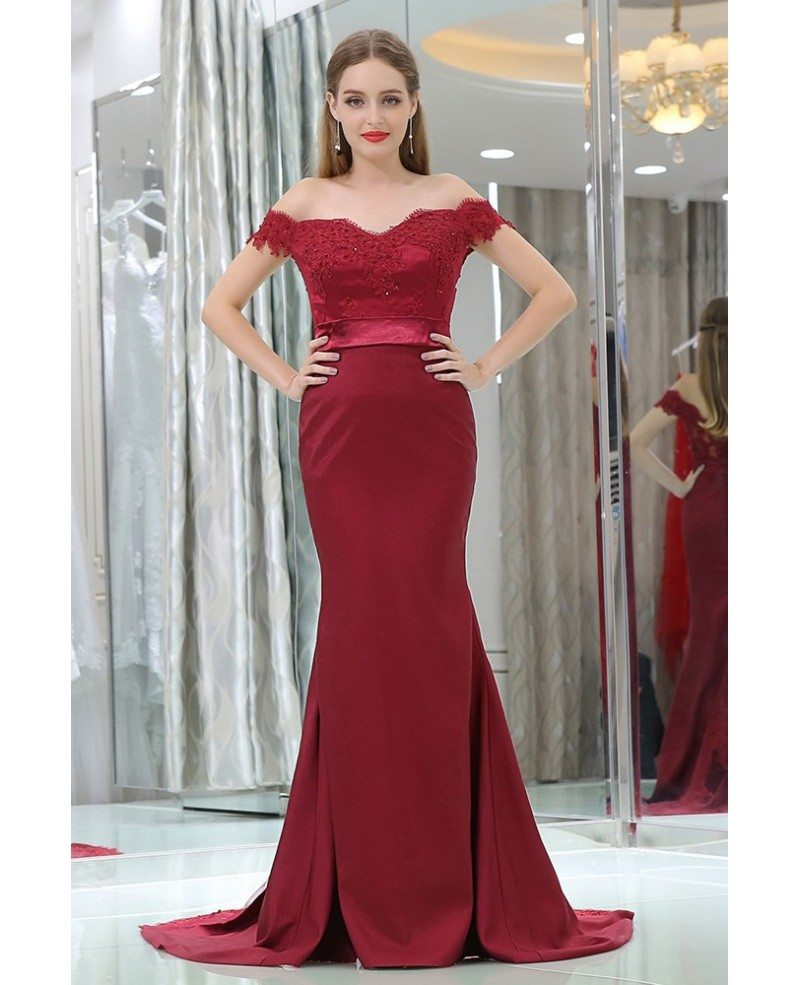 Off Shoulder Burgundy Lace Satin Formal Evening Dress In Mermaid Style #B018 - GemGrace.com