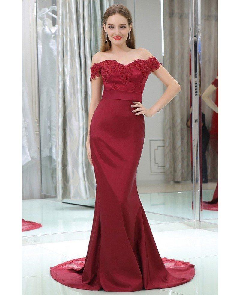 Off Shoulder Burgundy Lace Satin Formal Evening Dress In Mermaid ...