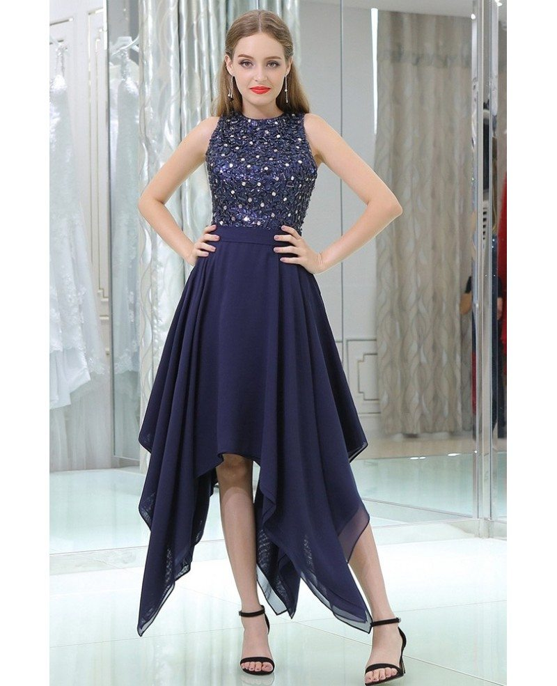 Navy Blue High Low Chiffon Prom Party Dress With Beaded Lace Bodice ...