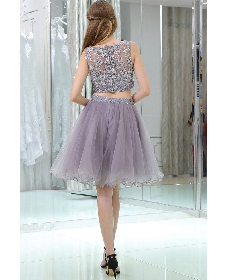 lavender tulle short suit skirt with lace jacket for prom