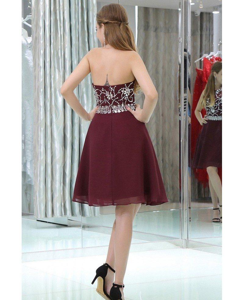 Halter Short Chiffon Beaded Prom Dress In Burgundy B021