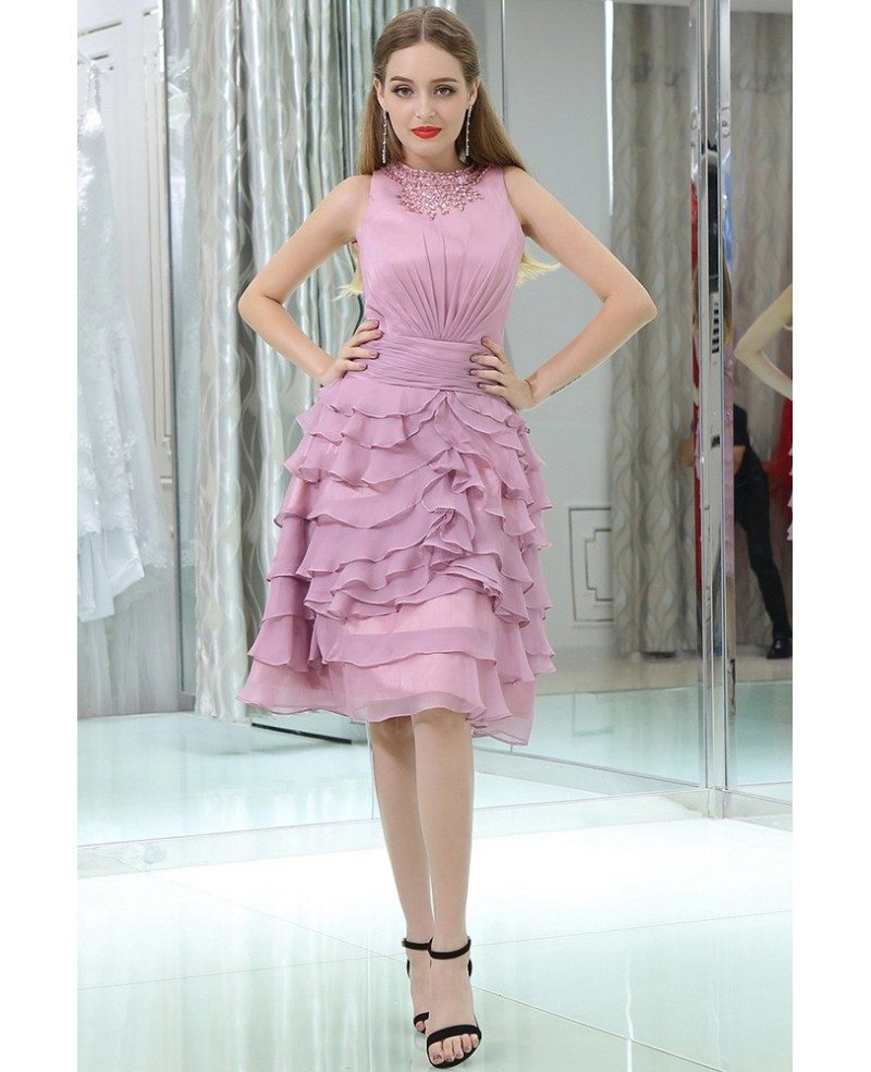 Layered Lilac Short Chiffon Prom Dress With Modest Beaded Neck #B022 ...