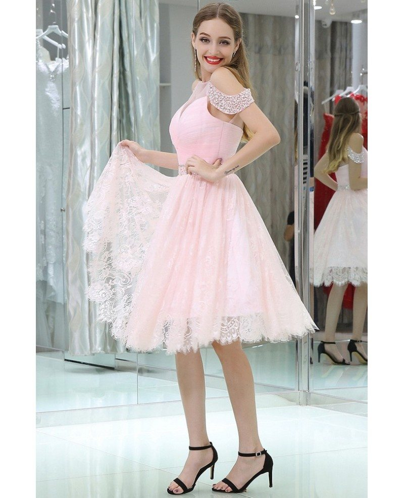 girls short pink lace beaded prom dress with off shoulder