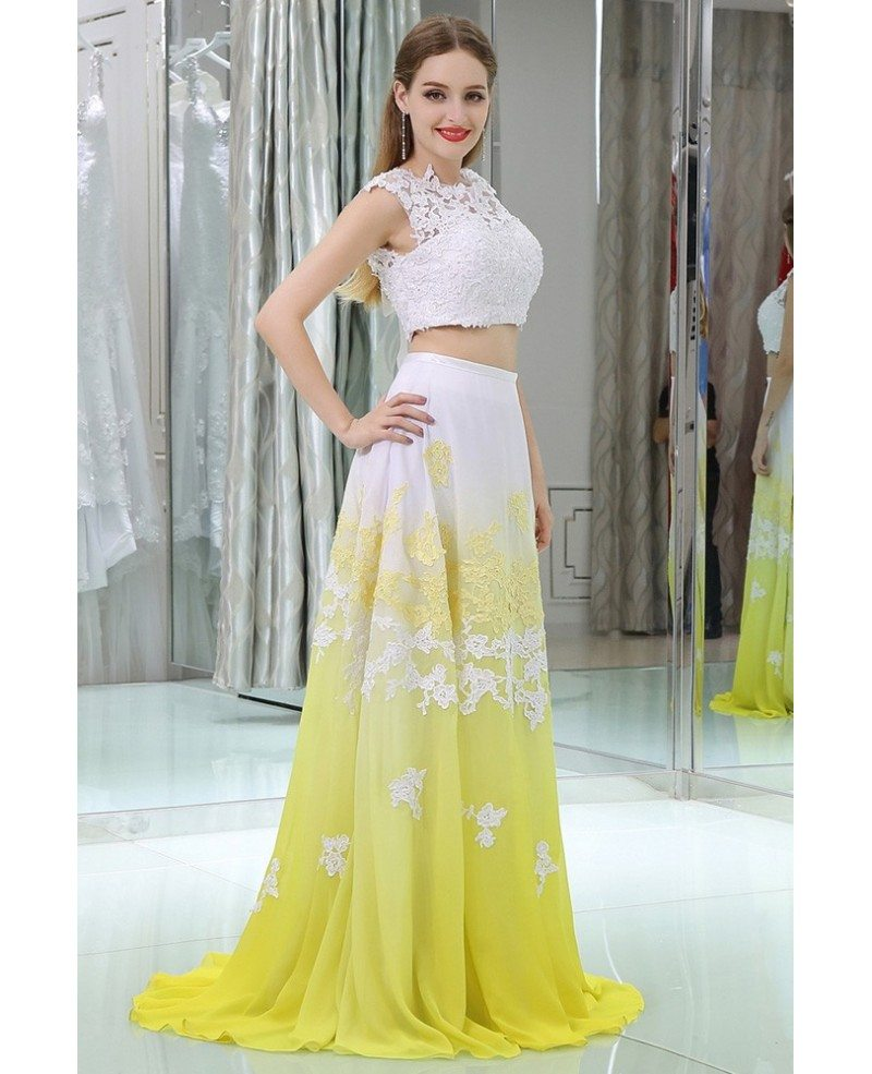 Yellow And White Prom Dresses 100