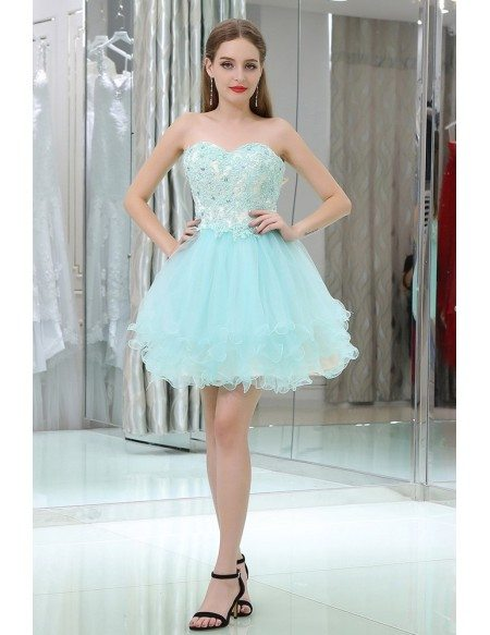 Strapless Short Tulle Baby Blue Prom Gown With Crystal Lace #B030 ...