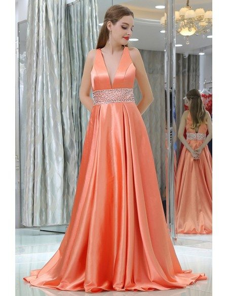 Long Deep V Beaded Coral Satin Evening Dress With Big Ball Gown ...