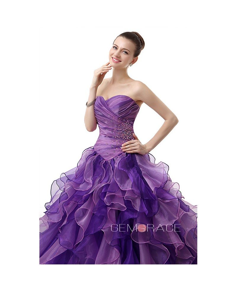 Formal Pleated Top Ballgown Ruffled Quinceanera Dress with Corset ...