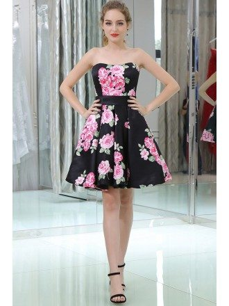 Simple Strapless Little Black Prom Dress With Pink Printed Floral