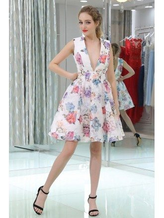 Unique Printed Floral Colorful Deep V Prom Dress In Knee Length