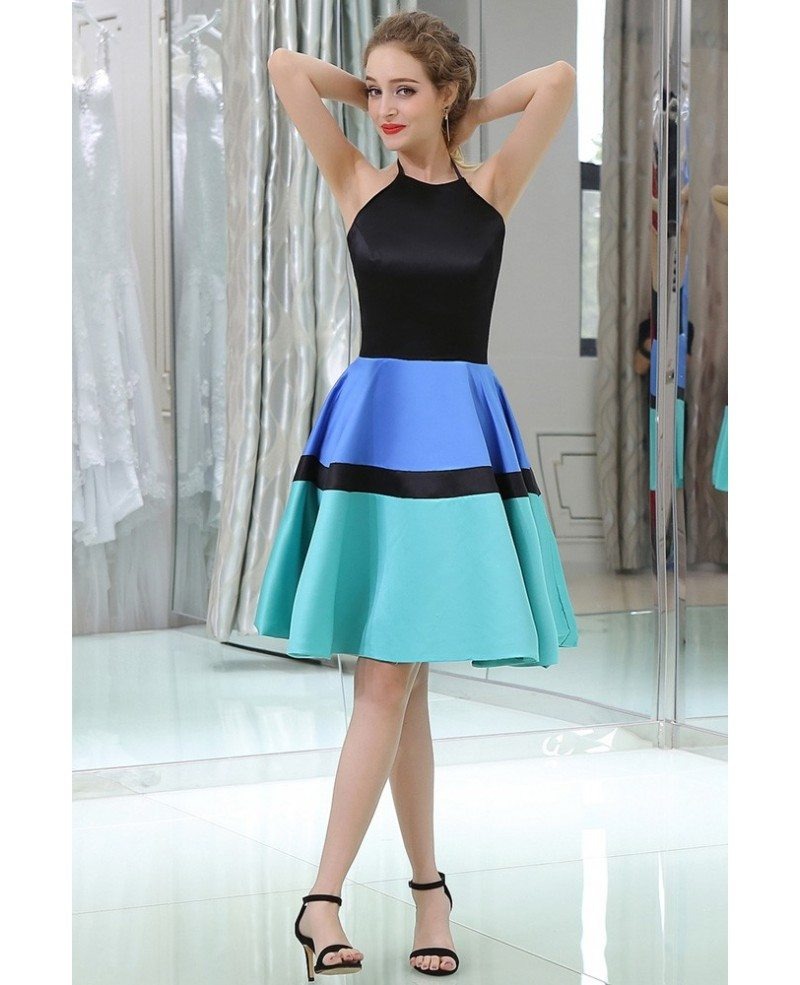 Unique Halter Short Satin Prom Dress In Black Blue Green Colors ...