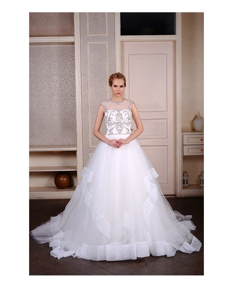 Ball gown scoop neck cathedral train organza wedding dress for Wedding dress trim beading