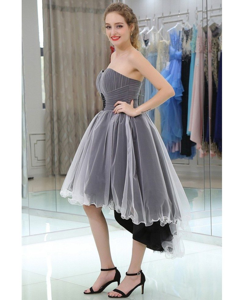 Strapless High Low Tulle Prom Dress In Black And White Color #B050 ...