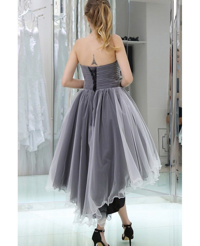 strapless high low tulle prom dress in black and white