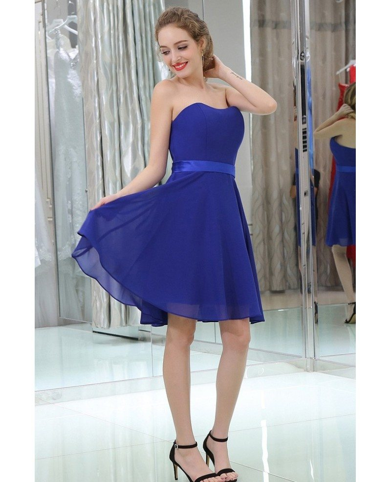 royal blue simple cocktail chiffon prom dress strapless